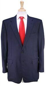 HICKEY-FREEMAN-Recent-Madison-Navy-Blue-w-Gold-Pinstripe-2-Btn-Wool-Suit-44L