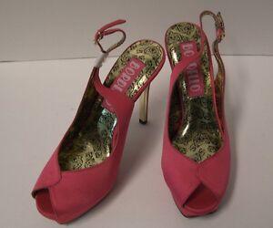 Bordello-Peony-Peep-Toe-Slingback-Sandals-Size-7-Pink-Satin-Retro-Pinup