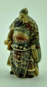 Vintage Chinese Japanese Warrior Immortal Soldier Resin Hand carve Figurine 3""