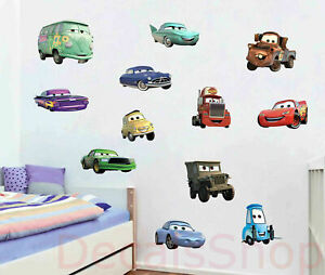 12 Pcs Full Set Disney Cars Wall Stickers Removable Decal Boys