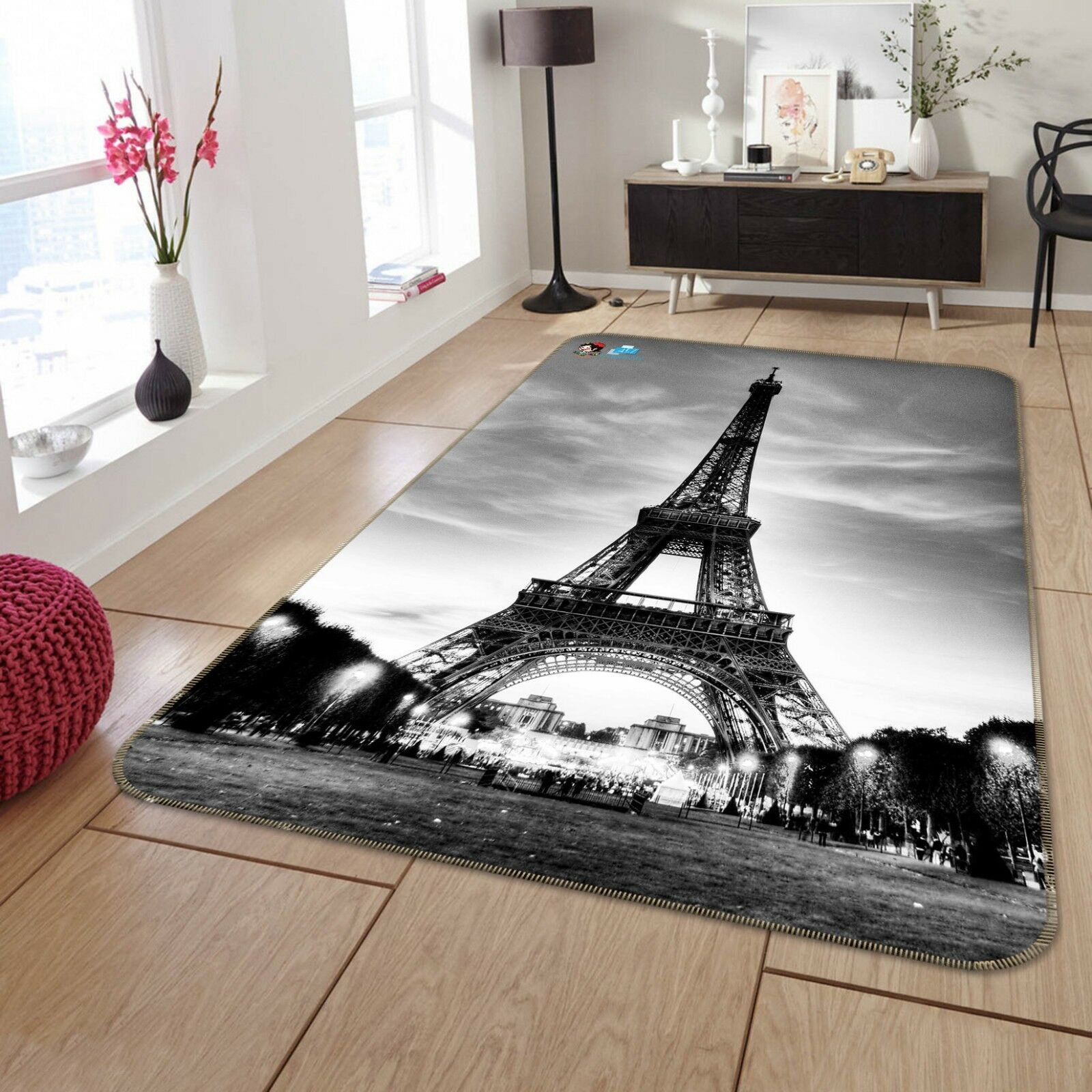 3D Sky Eiffel Tower 60 Non Slip Rug Mat Room Mat Quality Elegant Photo Carpet US