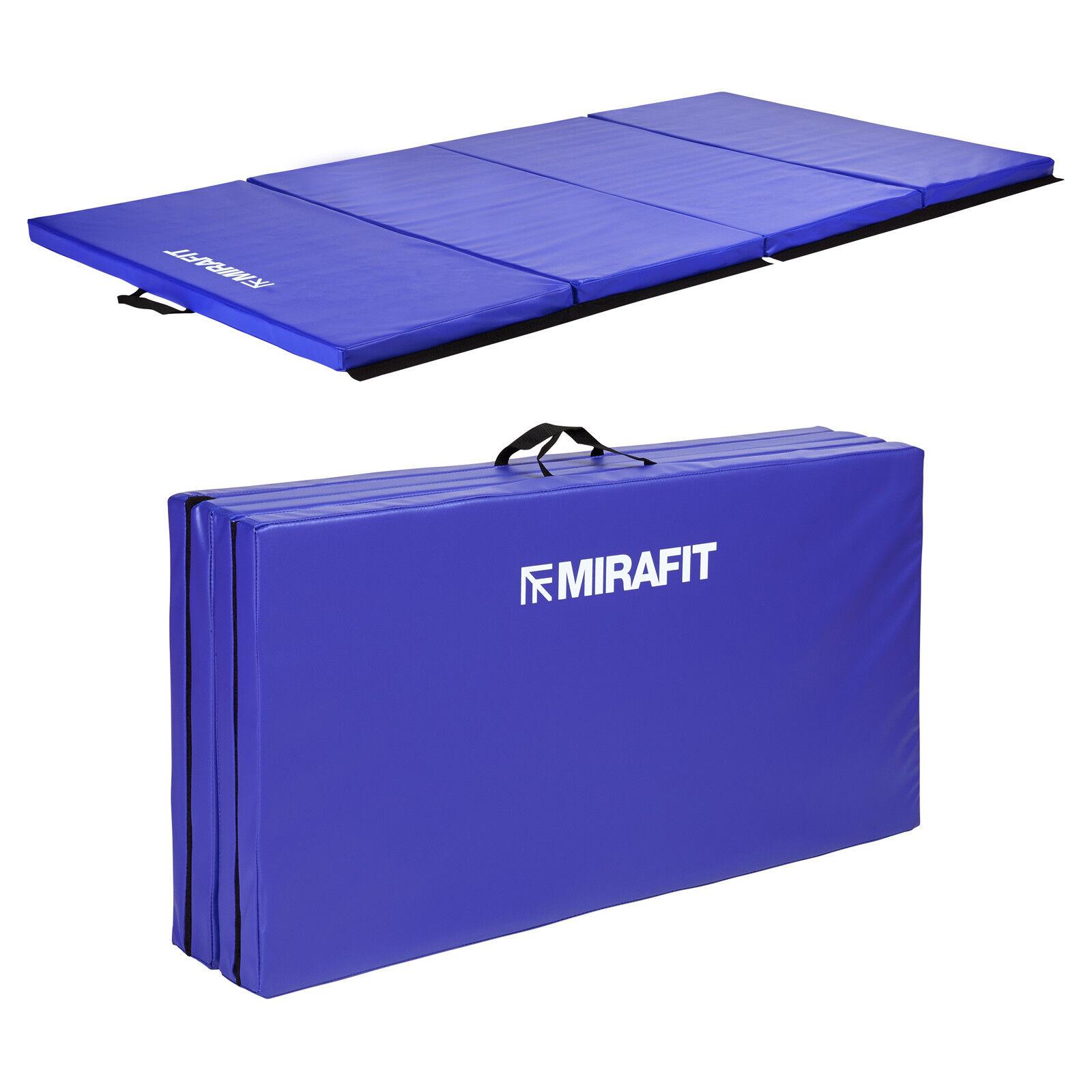 Mirafit Large bluee 8ft Folding Exercise Floor Mat Workout Gymnastics Ab Gym Pt