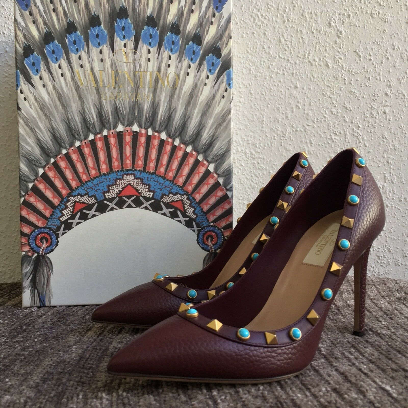 1095 1095 1095 NEW Valentino Rockstud 36.5 Rolling Grained Leather Pointy Pumps Burgundy 0f5b1c