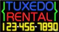 "NEW ""TUXEDO RENTAL"" w/YOUR PHONE NUMBER 37x20x3 NEON SIGN W/CUSTOM OPTIONS 15114"