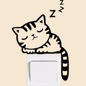 Sleeping-Cat-Light-switch-wall-Decal-Sticker-UK-Seller