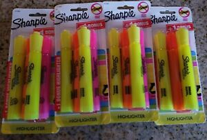 4x Sharpie Highlighter Assorted Colors No Smear Chisel Tip Fluorescent 4 Pack ea