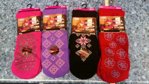3x Ladies Warm Thermal Socks Lounge Slipper Grip Non Slip Winter Womens Size 4-8