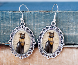 Egyptian Earrings Egyptian Jewellery Egyptian Black Cat Earrings