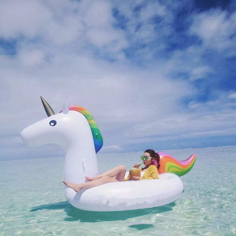 Unicorn Mounts PVC Inflatable Floating Bed Swimming Ring Water Recreation Tool