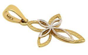 14k Oro Puro Amarillo y Blanco Dije de Cruz Medalla con Jesucristo