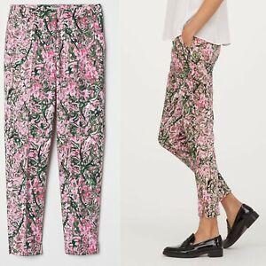 Ex-H-amp-M-Pantalones-Floral-Cigarrillo-Super-Stretch-Pantalones-Pantalones-cultivos-Size-UK-8-18