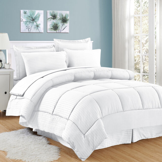 King, White 8 Piece Bed In a Bag Hotel Dobby Embossed Comforter Sheet set