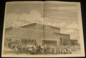 Crystal-Palace-Magnificent-Steel-amp-Glass-Building-exterior-1851-antique-print