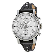 Fossil Original Boyfriend White Dial Chronograph Leather Ladies Watch ES3817