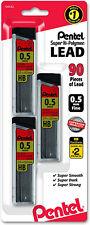 Pentel Super Hi Polymer Lead Refills With Eraser 05mm 2 Hb 3 Tubes Of 30 Lead