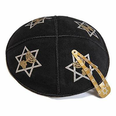 16cm Jewish Leather Navy Blue Kippah Round Yarmulke Synagogue