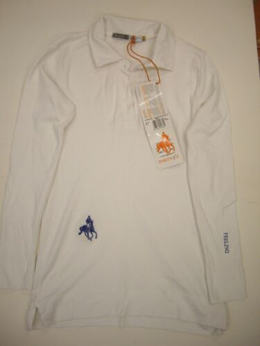 "Party of 2 Women's ""Of Feeling"" White Cotton Long Sleeve Polo Shirt Size S"
