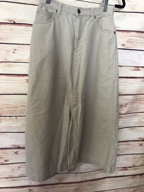 Eddie Bauer Size 4 Petite Skirt Long Modest Khaki Beige Cotton Casual Comfort