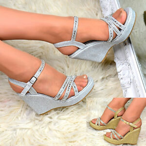 Ladies-Sparkly-Wedges-High-Mid-Heel-Platform-Ankle-Strap-Diamante-Peep-Toe-Shoes