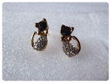 Gorgeous Cat//Kitten Rhinestone Earrings,Pierced,Studs,Cute,Gift Idea,Unusual