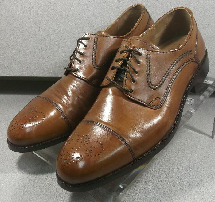 157072 MS50 Men's shoes Size 9 M Dark Tan Leather Lace Up Johnston & Murphy