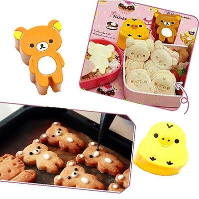 1set Cute Bear Chick Sandwich Rice Bento Bread Mold Cookies Sushi Mould DIY Tool