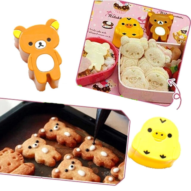 1set Cute Bear Chick Rice Sandwich Bread Mold Cookies Sushi Mould Bento DIY Tool