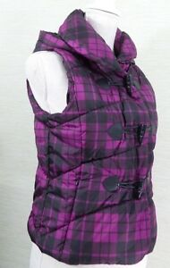 Womens-Dollhouse-Puffer-Vest-Size-Small-Purple-Black-Plaid-Hooded-Winter