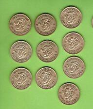 TEN  1958  AUSTRALIAN  ONE  SHILLING SILVER COINS