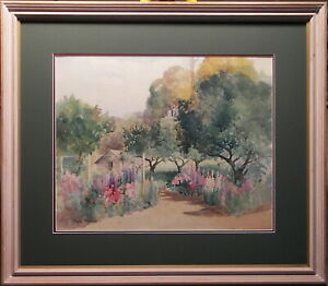 Anne-Hedley-Parsons-1870-1960-Large-Original-Painting-Hollyhocks-Garden-Spring