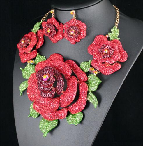 Giant Red Rose Austrian Rhinestone Necklace Earrings Set Beauty Pageant N943r