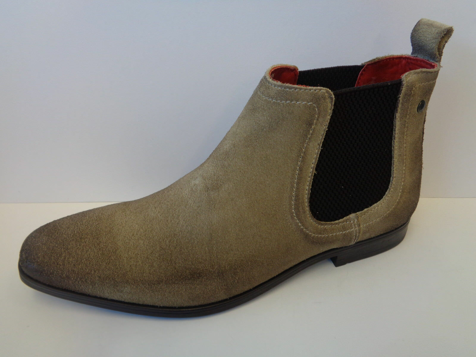 Mens Beige Suede Leather Pull On Base London Ankle Boots William