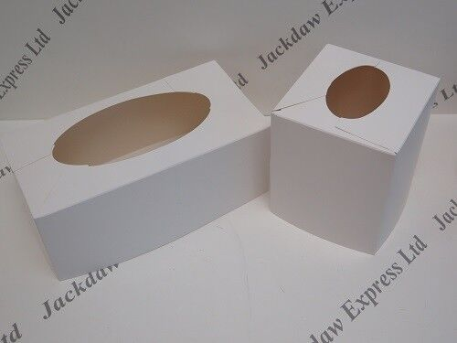 Tissue Box Cover Self Assembly White Cardboard x 5 Choose Rectangle or Square