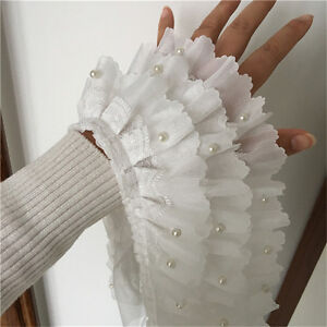 "1Yd Lace Trim Ruffled White Chiffon 3 Layer Bead Pearl Wedding Trims 4.33"" Width"