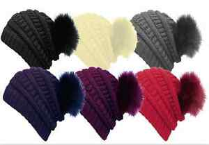 Hat-Pompom-Hat-Beanie-Knitted-Cap-Fur-Pompom-Slouch-Coarse-Knit