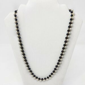 VINTAGE NECKLACE FAUX PEARL BLACK BEADED GOLD TONE CHAIN COSTUME JEWELRY 24""
