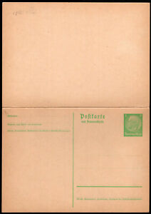 GERMANY PS STATIONERY POSTAL CARD 1933/4 WITH REPLY UNUSED