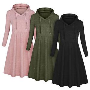 Womens-Hoodie-Hooded-Mini-Dress-Jumper-Pullover-Long-Sleeve-Sweater-Swing-Dress
