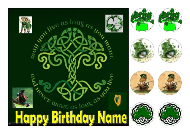 Pleasing Ireland Irish Birthday Cake Square Edible Iced Icing 7 5 8 Personalised Birthday Cards Veneteletsinfo