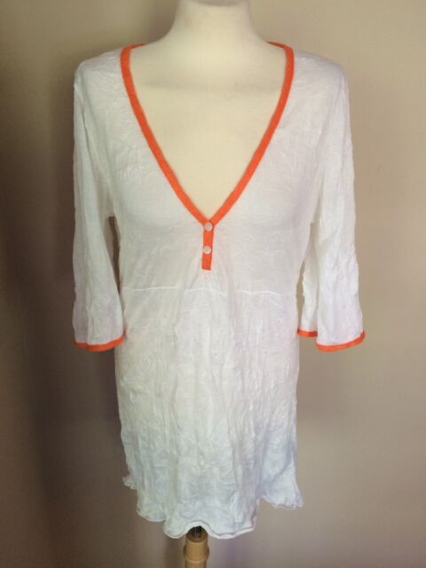 NWT Letarte White Crinkle Handmade Cover Up Swim Tunic Dress Shirt White Sz M