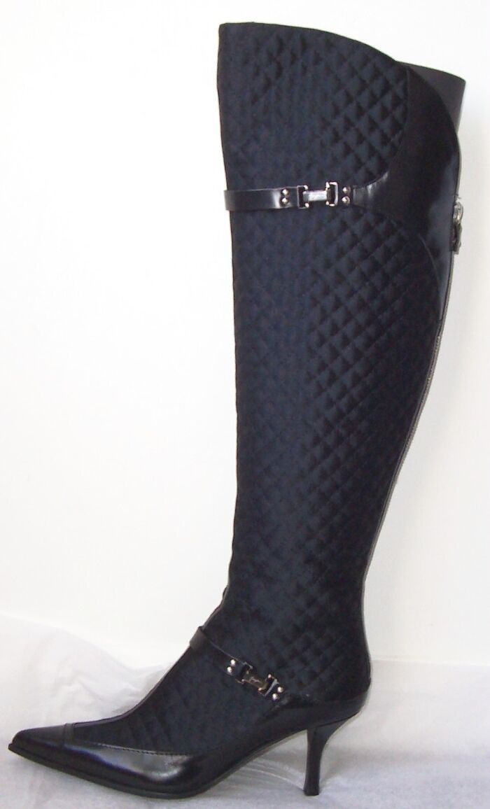 GUISEPPE ZANOTTI Black Quilted Fabric Leather Boots 36.5