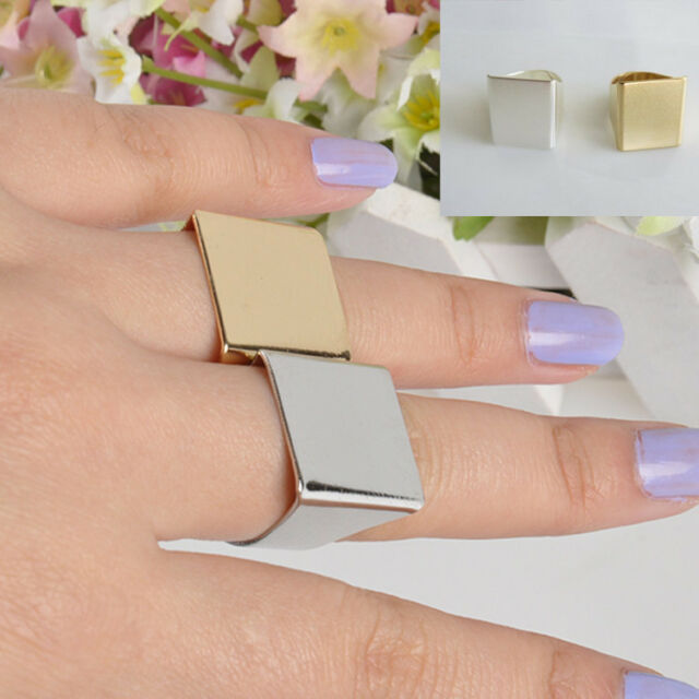 Punk Stylish Fashion Charm Rock Cool Simple Wide Gold/Silver Square Ring Gift