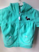 Carters Girls Fleece Zip Jacket 6 Month Scotty Dog Bows Pockets CUTE!!