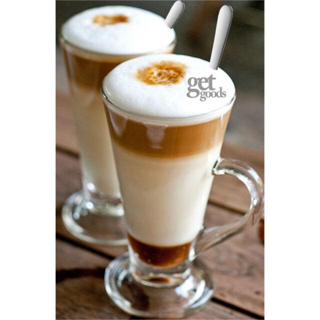 Set Of 2 Tall Latte Glasses Tea Irish Coffee Mugs Stainless Steel Spoons Cups