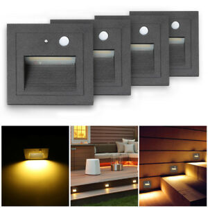 4pcs 3w led motion sensor deck wall lights recessed stair hall image is loading 4pcs 3w led motion sensor deck wall lights aloadofball Images