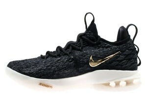 6c3ff3024cac Nike Men s Lebron 15 Low NEW AUTHENTIC Black Metallic Gold-Phantom ...