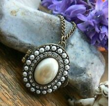 Pearl Crystal Locket Unusal Gift for her Mum Nan Sister Friend Daughter Necklace