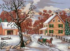 Grafitec Printed Tapestry//Needlepoint Canvas Winter Sleigh