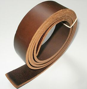 Blank Genuine Leather Belt Strap NO Buckle Cow Hide DIY 3.5mm Thick 38mm W Brown