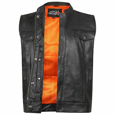 "Mens Motorcycle Son Of Anarchy Gun Pocket Real Leather ""cut Off"" Biker Waistcoat Chinesische Aromen Besitzen"